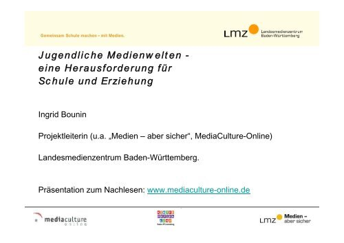 Jugendliche Medienwelten - Mediaculture online
