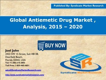 Global Antiemetic Drug Market , Analysis, 2015 – 2020