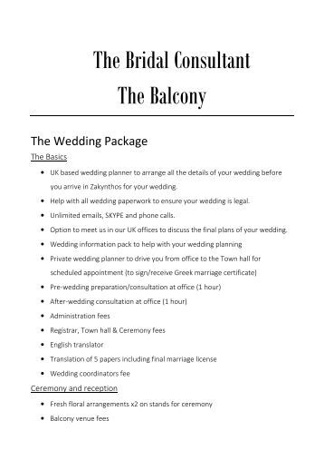 11. Prices - Zante - The Balcony wedding and reception - 2017