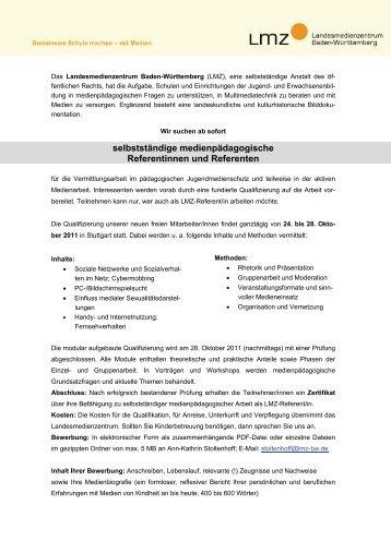 selbstständige medienpädagogische Referentinnen und Referenten