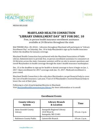 "MARYLAND HEALTH CONNECTION ""LIBRARY ENROLLMENT DAY"" SET FOR DEC 10"