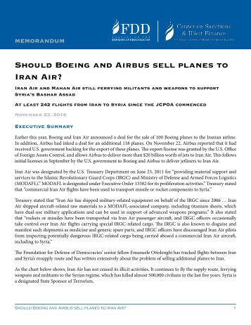 Should Boeing and Airbus sell planes to Iran Air?