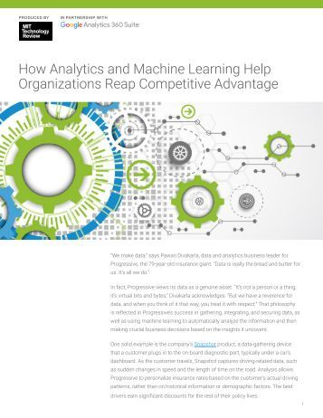 How Analytics and Machine Learning Help Organizations Reap Competitive Advantage