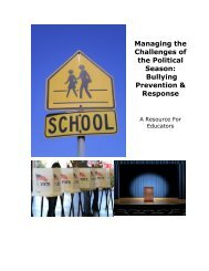 Managing the Challenges of the Political Season Bullying Prevention & Response
