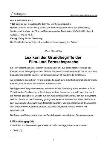 Lexikon der Grundbegriffe der Film- und Fernsehsprache.