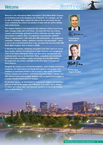 Programme overview - IWA World Water Congress & Exhibition