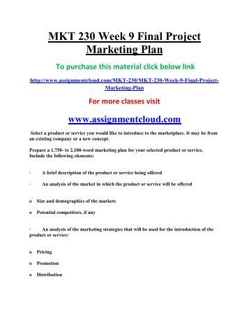 uop MKT 230 Week 9 Final Project Marketing Plan