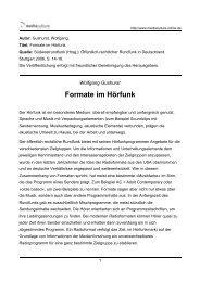 Formate im Hörfunk - Mediaculture online