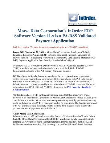 Morse Data Corporation's InOrder ERP Software Version 11.x is a PA-DSS Validated Payment Application