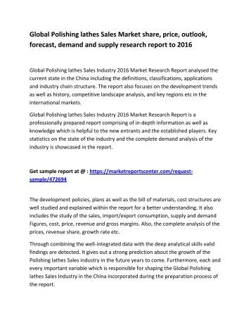 Global Polishing lathes Sales Market investment strategies, size, share and behavior research report to 2016