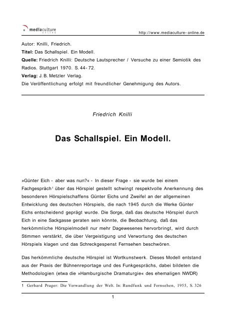Das Schallspiel. Ein Modell. - Mediaculture online