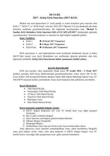 DUYURU 2017 - Kolej Giriş Sınavları (2017-KGS)