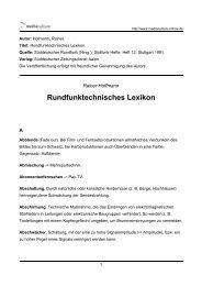 Rundfunktechnisches Lexikon - Mediaculture online