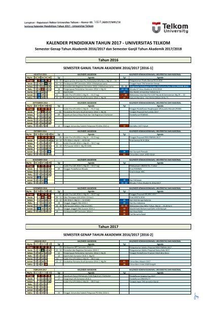 Kalender Pendidikan Tahun 2017 Universitas Telkom