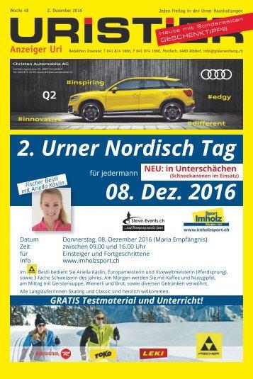 48.2016 Uristier  Der Urner Gratisanzeiger