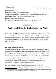 Radio und Hörspiel im Zeitalter der Bilder - Mediaculture online