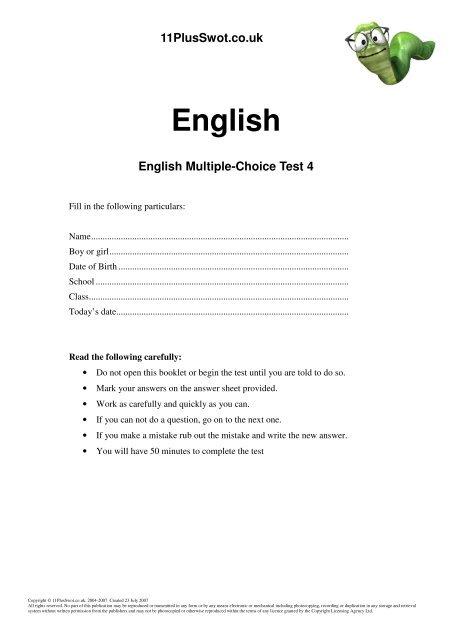 11 Plus Swot English Multiple Choice Paper 4
