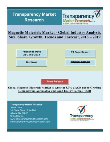 Global Magnetic Materials Market to Grow at 8.9% CAGR Demand from Wind Energy Sectors