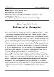 Medienarbeit im Kindergarten - Mediaculture online