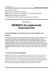 WEBBEN als ergänzende Kulturtechnik - Mediaculture online