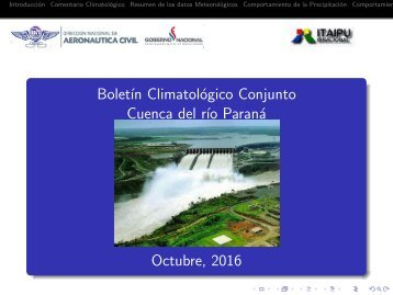 Boletín Climatológico Conjunto Cuenca del río Paraná Octubre 2016