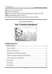 Das Trickfilm-Handbuch Inhaltsverzeichnis - Mediaculture online