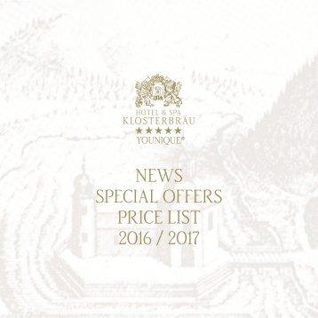Hotel Klosterbräu & SPA - Rates 2016/2017