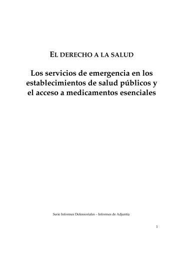 establecimientos de salud públicos y el acceso a medicamentos esenciales
