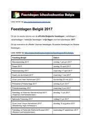 Feestdagen 2017 Belgie - Exacte datums op kalender