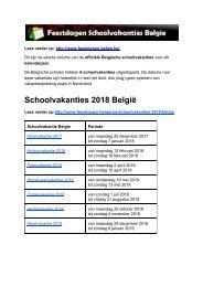 Schoolvakanties 2018 Belgie - Exacte datums op kalender