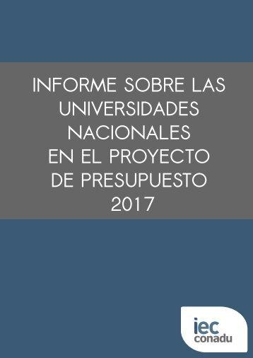 UNIVERSIDADES NACIONALES EN EL PROYECTO DE PRESUPUESTO 2017