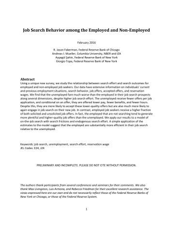 Job Search Behavior among the Employed and Non-Employed