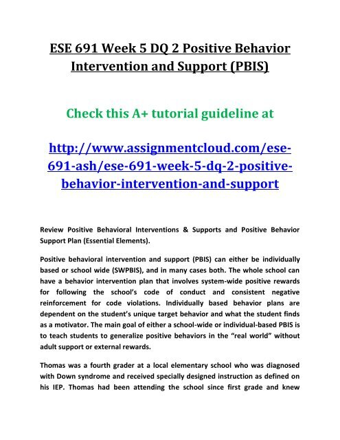 Ese 691 Week 5 Dq 2 Positive Behavior Intervention And Support