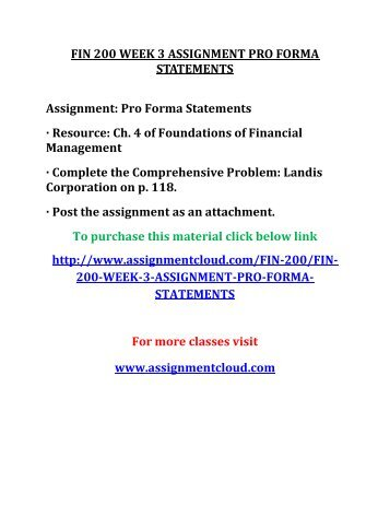 UOP FIN 200 WEEK 3 ASSIGNMENT PRO FORMA STATEMENTS