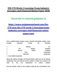 UOP  FIN 370 NEW Week 2 Learning Team Industry Averages and Financial Ratios Paper NEW