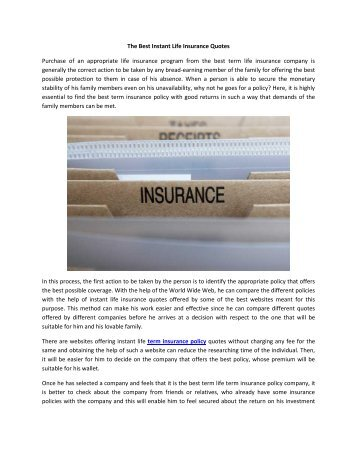 The Best Instant Life Insurance Quotes