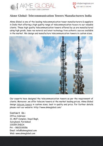 Telecommunication Towers Design India – Akme Global