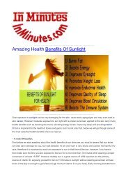 Amazing Health Benefits Of Sunlight