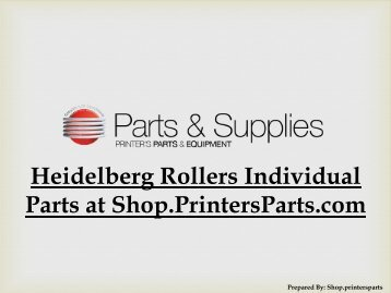 Heidelberg Rollers Individual Parts at Shop.PrintersParts.com