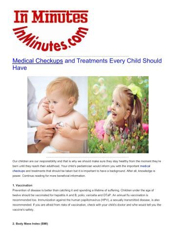 Medical Checkups and Treatments Every Child Should Have