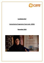 Candidate Brief Humanitarian Programme Team Lead - MENA November 2016