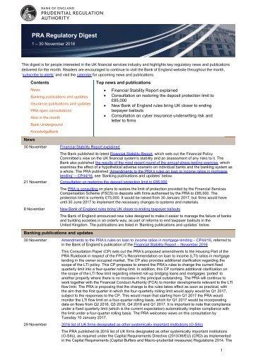 PRA Regulatory Digest