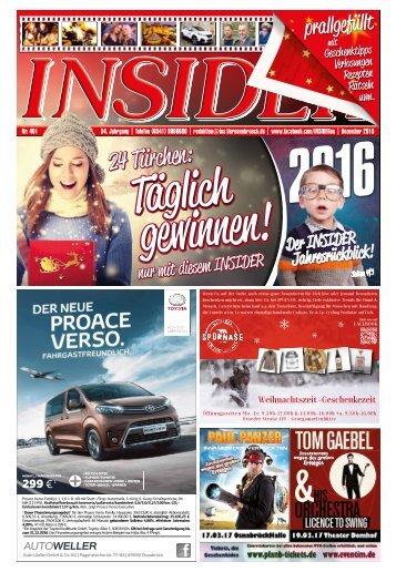 INSIDER Osnabrück // Dezember 2016 // No. 401