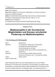 Medienprojekte in der Grundschule - Mediaculture online