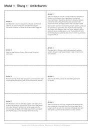 Modul 1 · Übung 1 · Artikelkarten