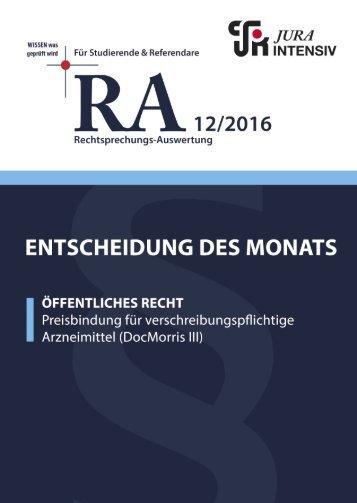 RA 12/2016 - Entscheidung des Monats