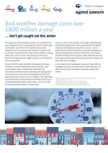 Bad weather damage costs over £800 million a year