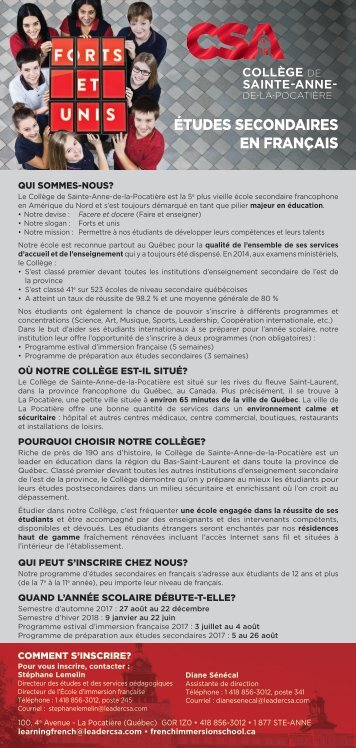 Pages de CSA Encarts français 2017-2018