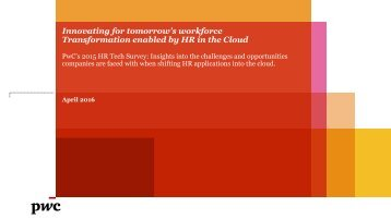 Innovating for tomorrow's workforce Transformation enabled by HR in the Cloud