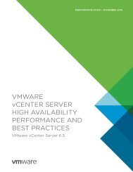 VMWARE vCENTER SERVER HIGH AVAILABILITY PERFORMANCE AND BEST PRACTICES